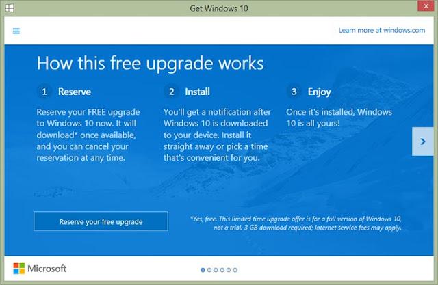 حجز النسخة المجانية من ويندوز 10