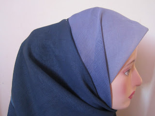 tudung bawal 3 tone plain biru