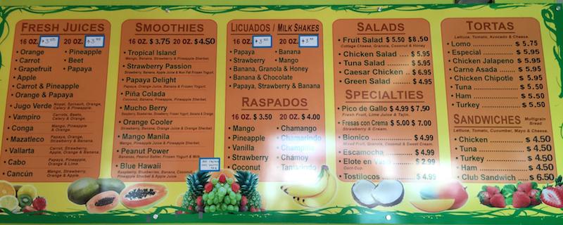Menu at Papayas Juice Bar and Fruteria