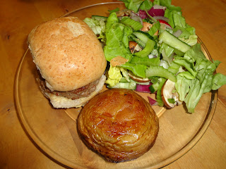 Home Made Burger with Salad and Giant Mushroom
