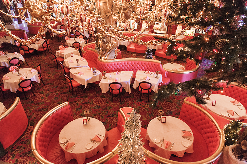 The dining room of the Madonna Inn theme hotel in San Luis Obispo