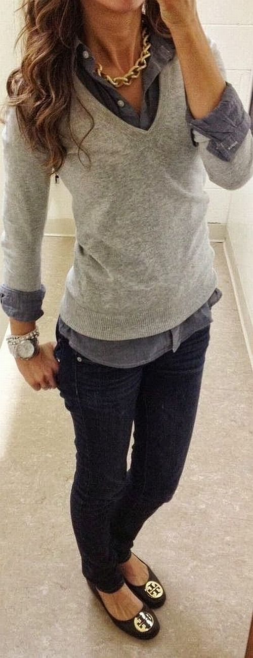 street style: casual but super grey outfit, work wear