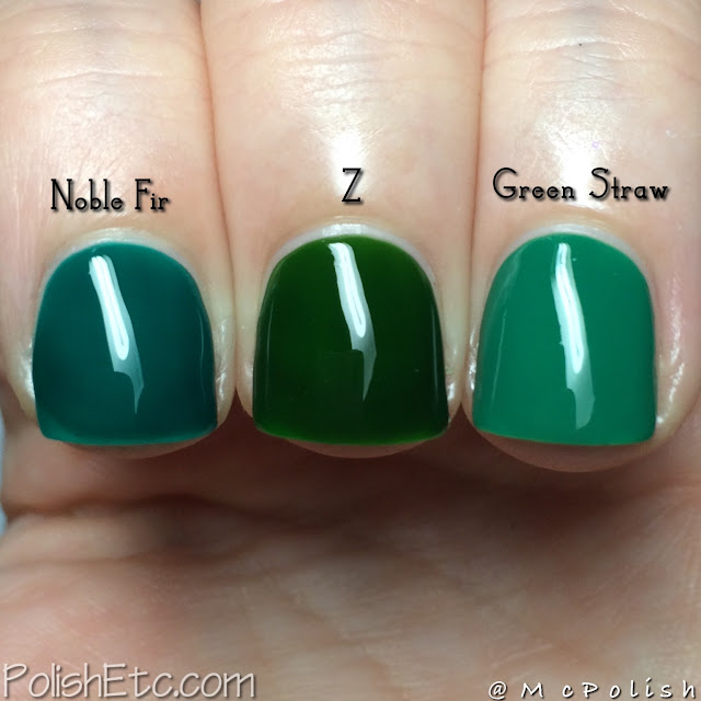 Loaded Lacquer - Green Jiggles Comparison - McPolish - Noble Fir Z Green Straw