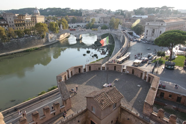 The view of the surroundings of the Castel Sant'Angelo in Rome, Italy
