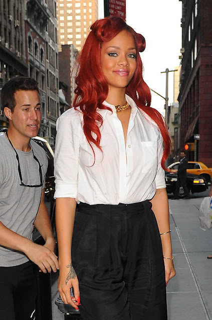 Rihanna Red Color Hairstyle 2011 Latest Real Life Pictures