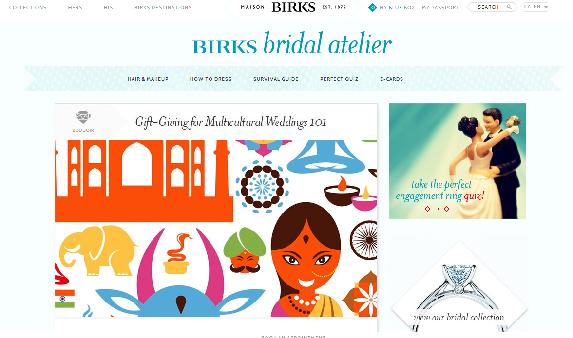 Maison Birks bridal atelier website