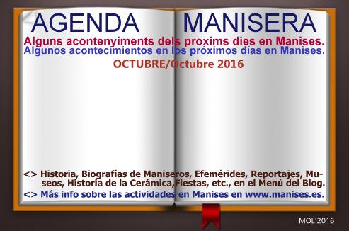 AGENDA MANISERA, SEMANA 41 DE 2016