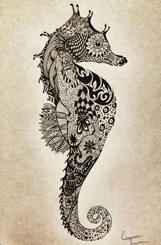 Seahorse zentangle