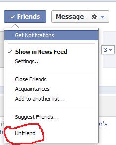 Unfriend facebook friend