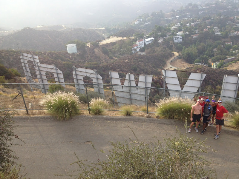 T2 runners behind Hollywood Sign