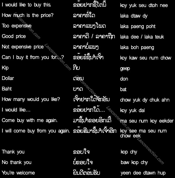 Lao language - phrases and words to use while shopping in the market - written in Lao and English
