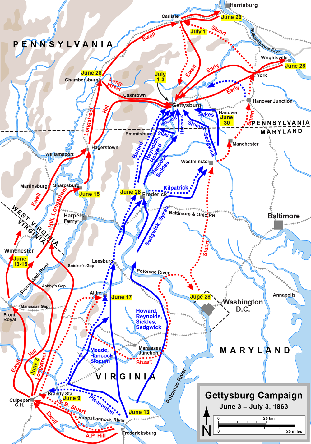after the battle of chancellorsville in may 1863 general lee s army of northern virginia started moving northward they crossed over to the west side of