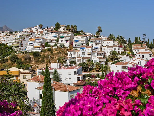 Nerja Spain Houses Flowers Cityscape HD Wallpaper