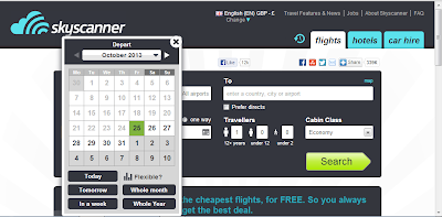 Skyscanner date settings