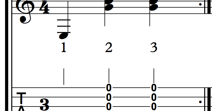 Guitar chords plucking