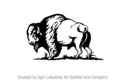 realistic logo (bison, American buffalo)