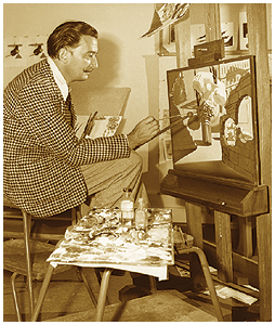 Salvador Dali at Work