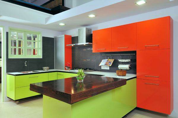 Timbor Home Orange Color Modular Kitchen Furniture Design