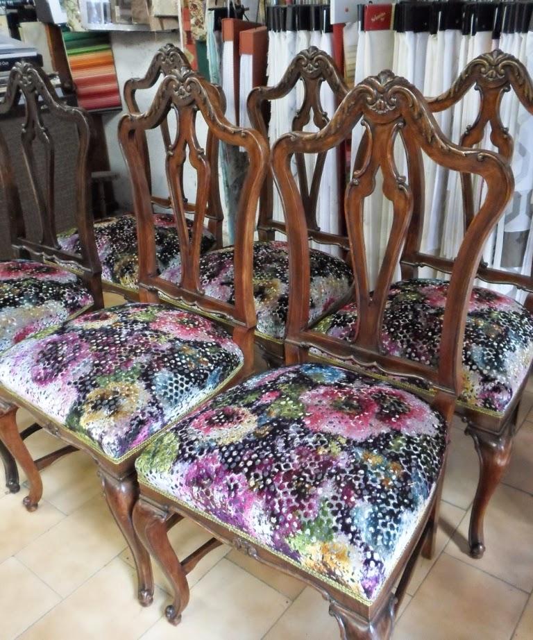 conjunto sillas de salón retapizadas