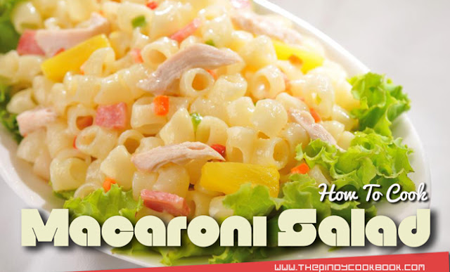 Pinoy Chicken Macaroni Salad Easy Recipe Christmas New Year Holiday Step by Step Guide Tutorial Video Filipino Panlasa Chicken Macaroni is a noodle/pasta dish composed of shredded chicken meat mixed with pineapples, carrots, raisins, cheese and mayonnaise. We Filipinos usually consume Chicken Macaroni Salad as appetizers and meryenda snacks.     I also love to have this as a main dish especially if I am having stews such as Chicken Afritada or Kare-Kare because I usually treat Chicken Macaroni Salad as a kind of dessert. This dish is also typically served during Filipino fiestas and also during family outings and picnics or even during Holidays like Christmas and New Year.  Pinoy Chicken Macaroni Salad Easy Recipe Christmas New Year Holiday Step by Step Guide Tutorial Video Filipino Panlasa   It is easy to make your own Pinoy Chicken Macaroni Salad; all you have to do is prepare some of the ingredients beforehand. The elbow macaroni needs to be cooked and drained while the chicken needs to be boiled and shredded. Once the macaroni and chicken are ready, all you have to do is combine all the ingredients and toss. It will also be nice if you serve your Filipino Chicken Macaroni Salad chilled. I do this by mixing all the ingredients in a stainless mixing bowl. I place that same mixing bowl with the Filipino Chicken Macaroni Salad in the fridge.   In addition aside from macaroni, you can use other types of short cut pastas. Here are some examples: Mostaccioli, Penne, Rigatoni, Cellentani, Rotini, Cavatappi, Fideuà, and Maccheroncelli.  So with that brief information in mind let's start cooking.  How to Make Chicken Macaroni Salad Easily RECIPE & TUTORIAL   Ingredients we need:   1 lb. elbow macaroni 1 lb. chicken 3/4 cup mayonnaise 1 (20 oz.) can pineapple tidbits, drained 3/4 cup minced carrots 3/4 cup raisins 1 cup shredded cheddar cheese 1/4 teaspoon garlic powder 4 cups water Salt and pepper to taste    Step by Step Cooking Procedures:   1.)Bring water to a boil. Once the water starts boiling, add 1 teaspoon salt and then put-in the chicken. Boil the chicken for 25 minutes. Drain the water and let the chicken cool. 2.)Discard the bone from the meat and then shred the chicken meat using your clean hands. Set aside. 3.)Cook the elbow macaroni according to package instructions. Drain and then set aside 4.)In a large mixing bowl, combine the mayonnaise, garlic powder, 3 tablespoons of pineapple juice from the canned tidbits, salt, and ground black pepper. Mix well and then taste. Adjust the taste as necessary. 5.)Add the shredded chicken, carrots, macaroni, raisins, and pineapple tidbits in the mixing bowl. Toss thoroughly until the ingredients are well distributed. 6.)Add the cheese. Gently toss. 7.)Cover the mixing bowl with a cling wrap. Refrigerate for at least 1 hour. 8.)Transfer to a serving plate. 9.)Serve. Share and enjoy! Best serve when chilled.  Having problems? Watch the cooking tutorial guide below.  Cooking Video Tutorial:     Enjoyed our recipe? Feel free to browse more Chicken Recipes here at Pinoy Cookbook.