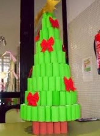 Arboles de navidad con tubos de papel higi nico - Arbol de navidad con papel ...