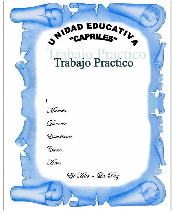 Caratula para trabajos de colegio - Imagui
