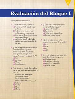 Apoyo Primaria Español 4to grado Bloque 1 Evaluación del Bloque I