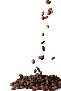 coffee beans falling gracefully