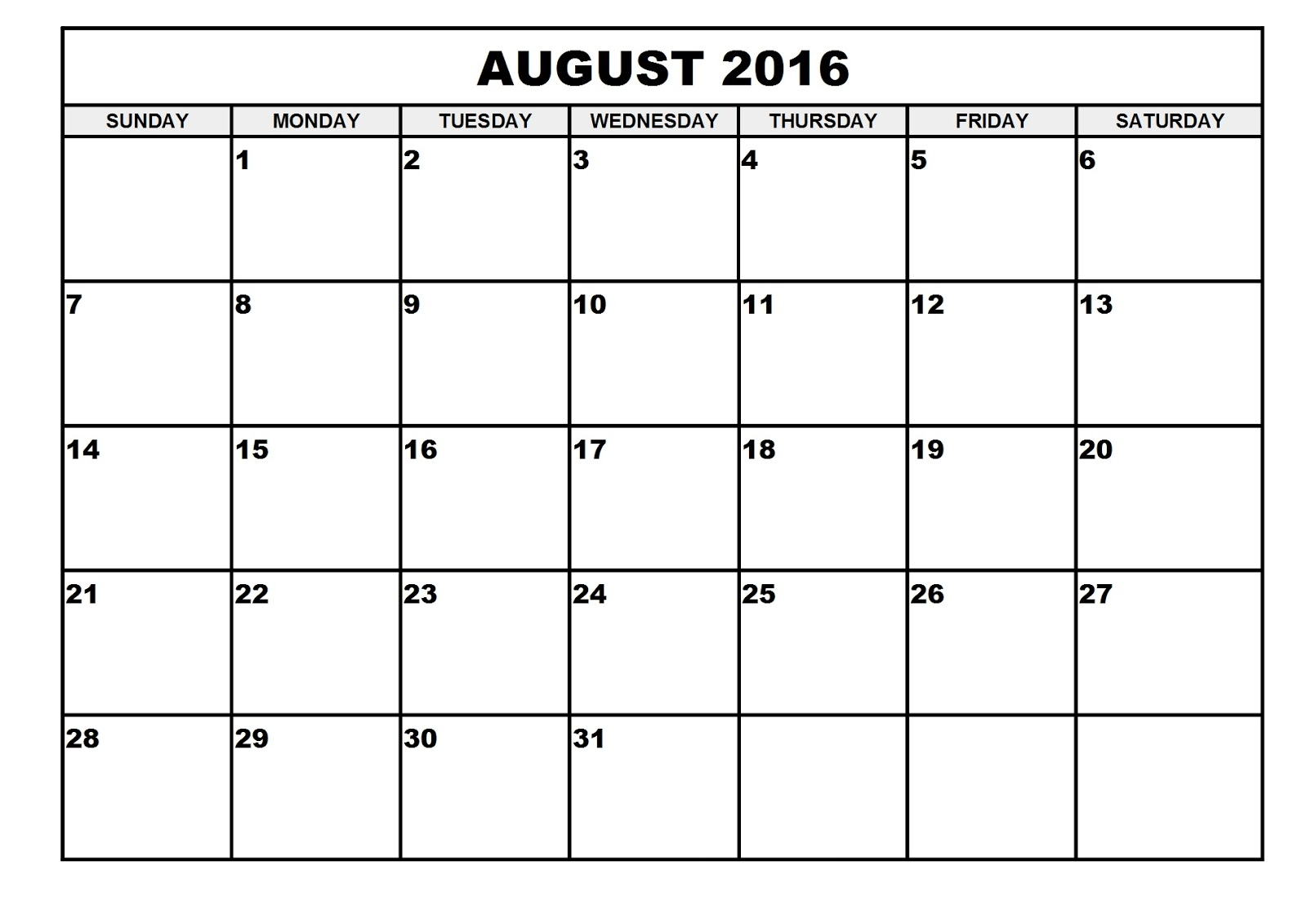 2016 Monthly Blank Calendar: August 2016 Printable Calendar Template