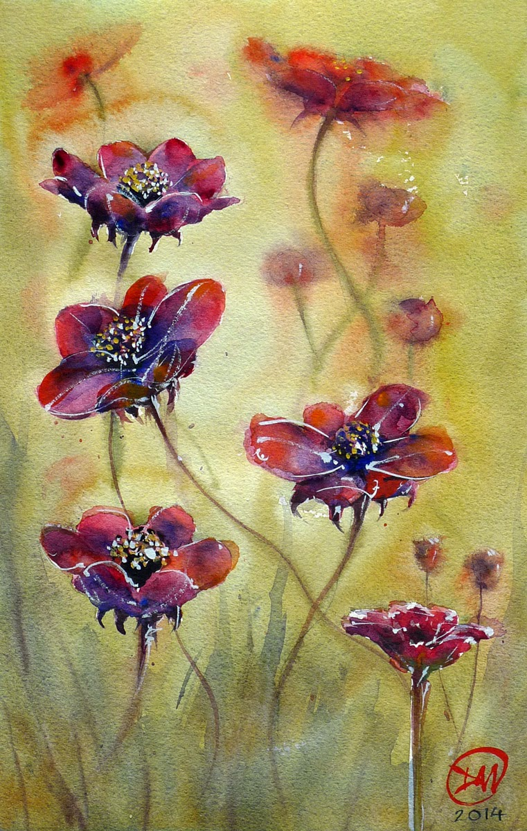 Watercolour flowers by David Meldrum