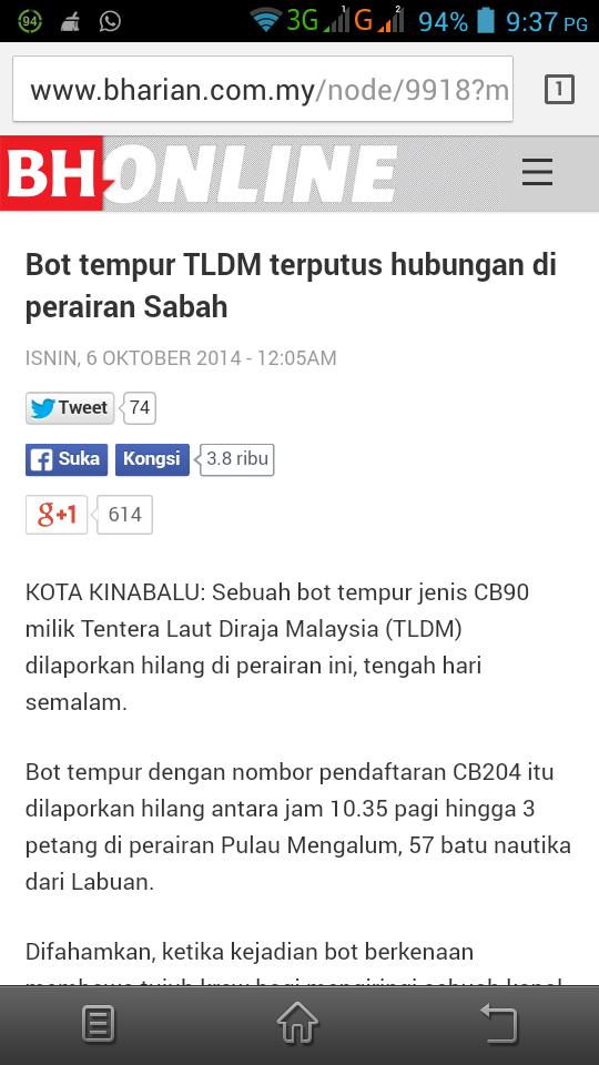 Sumber Berita Bot TLDM hilang di Sabah