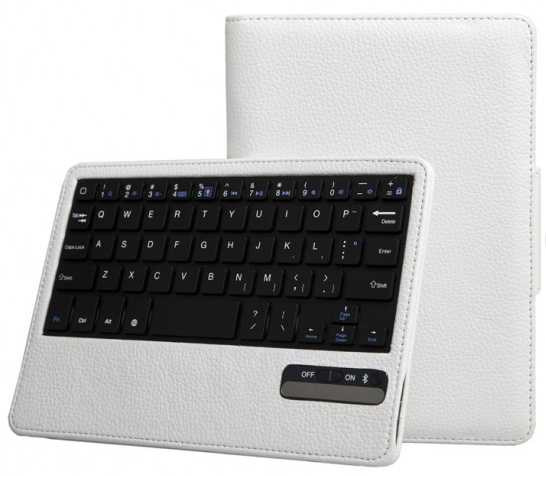 White Leather Bluetooth Keyboard Foilo Case for iPad Mini