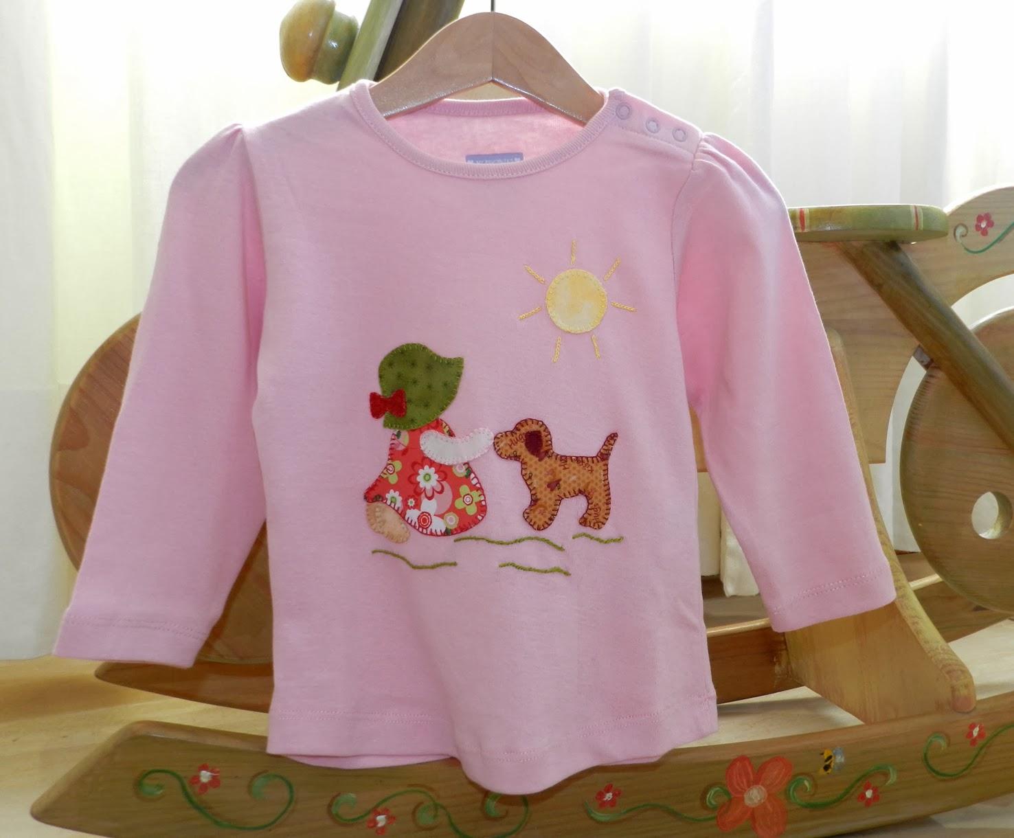 patchwork, camiseta con aplicaciones de patchwork, camisetas patchwork, Sunbonnet Sue, camiseta niña, ideas para regalar, regalos, camisetas