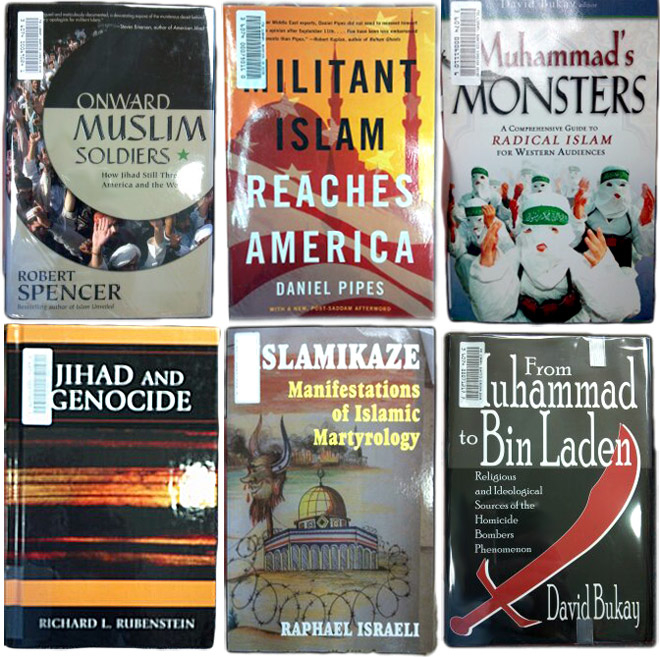 Gambar buku-buku di perpustakaan FBI yang memburukkan Islam