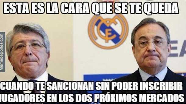 Los internautas se ríen de la sanción FIFA a Real Madrid y Atlético