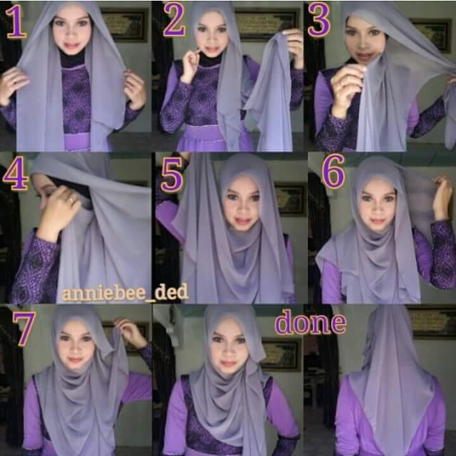 10 Cara Mudah Pakai Shawl, Tutorial Shawl, loose style shawl