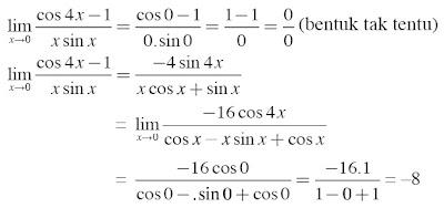 substitusi langsung limit fungsi turunan kedua