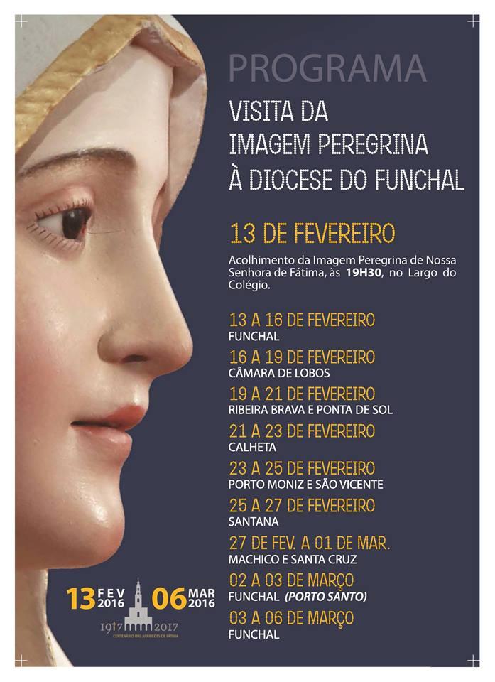 Programa da Visita da Imagem Peregrina à Diocese do Funchal