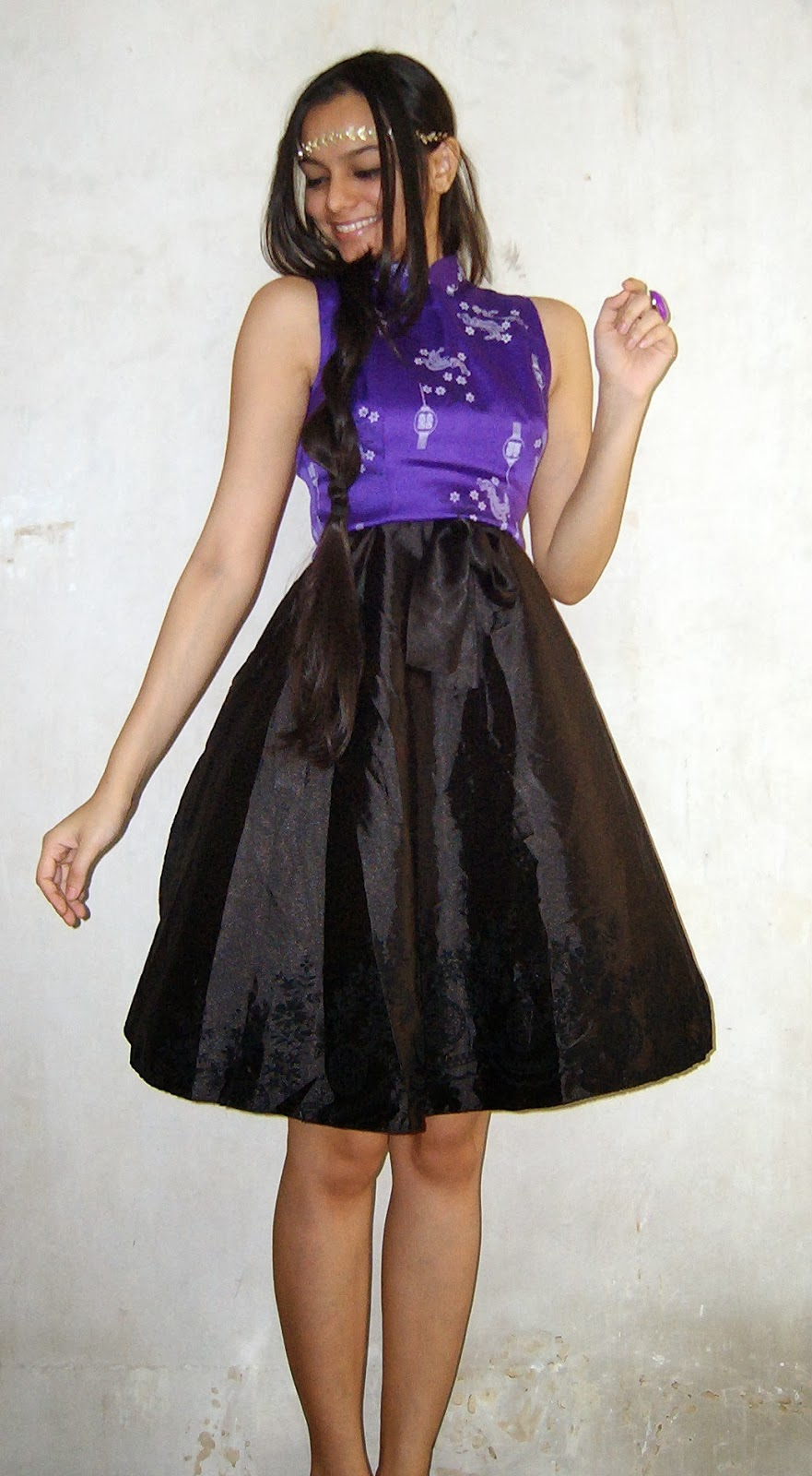 party outfits, purple, black circle skirt, headband, shiny clothes, indian fashion blogger, crop tops, how to wear crop tops in india