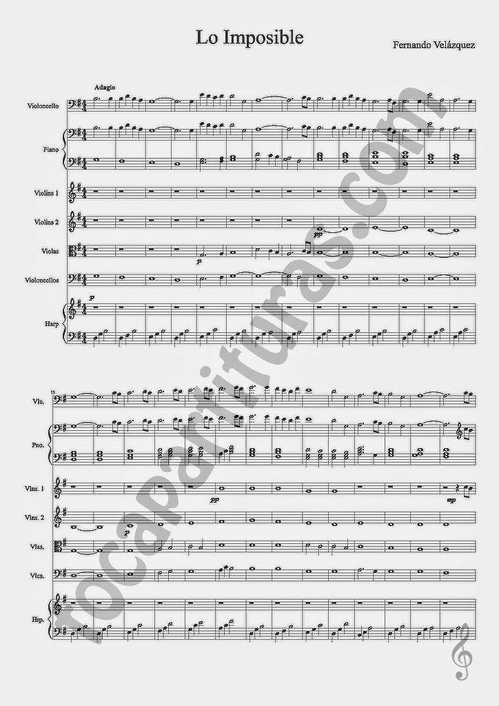 1 Lo Imposible Partitura del Score Completo Partituras melódicas y de acompañamiento para Pequeña Orquesta de Cuerdas y Piano (3 hojas) de Fernando Velázquez