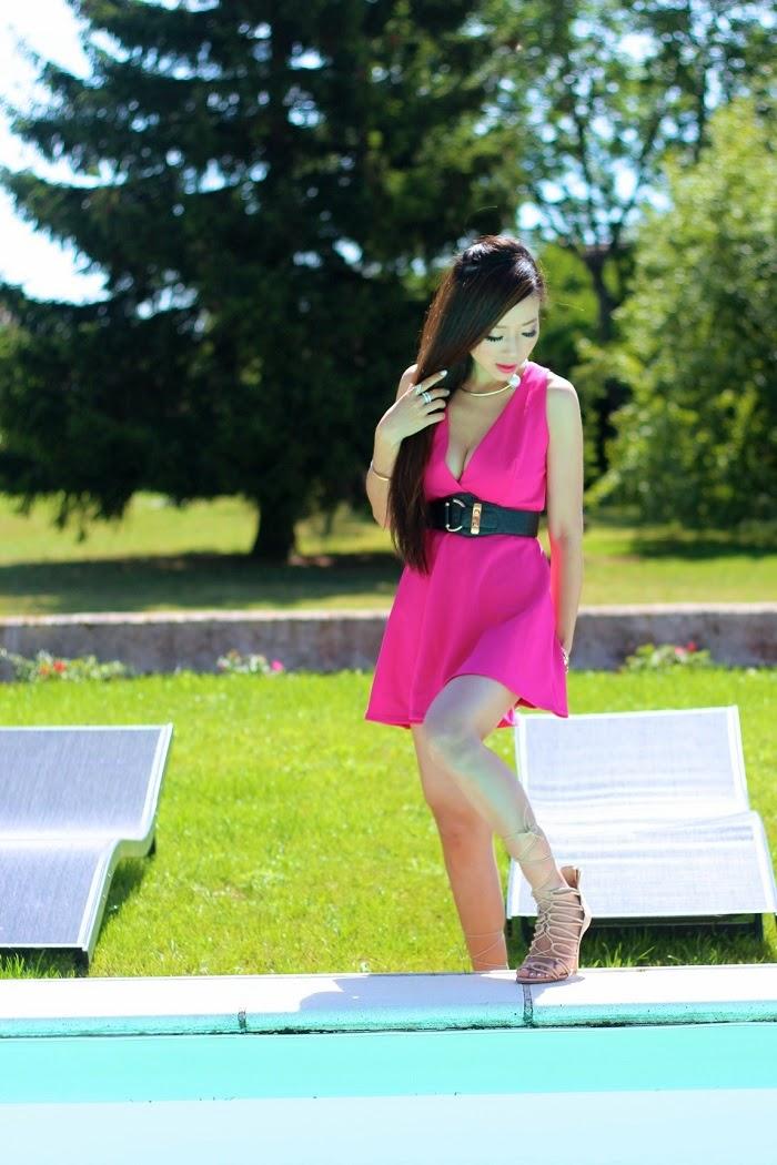 Nastygal Nika Dress, Dress, HenriBendel,Asos,Schutz,pearl,choker,hotpink,summer,poolside