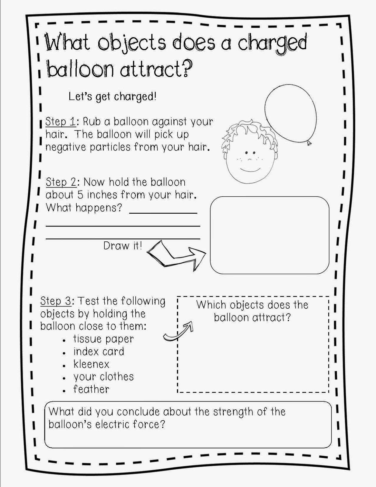 Static Electricity Worksheet Grade 2