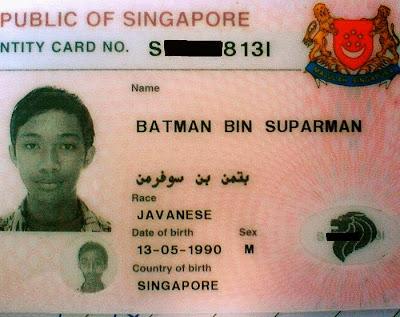 KAD pengenalan yang mengandungi nama warga Singapura, Batman bin Suparman.