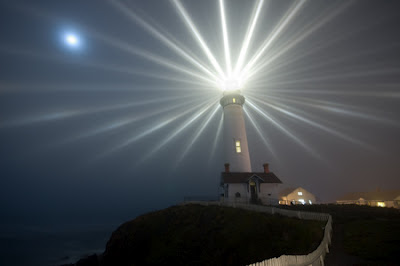 Hilltop Lighthouse at night