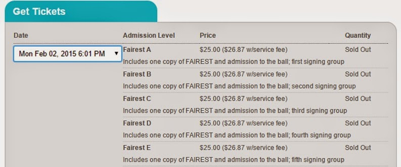 Screenshot of sold out tickets to see Marissa Meyer in February 2015