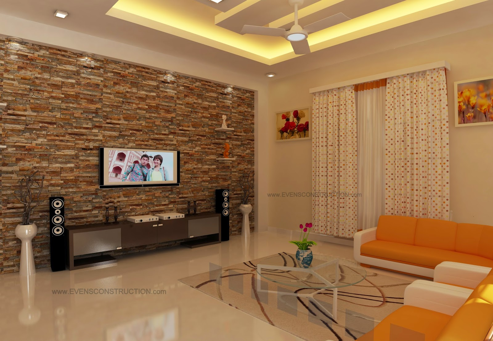 Spacious living area designed for kerala home