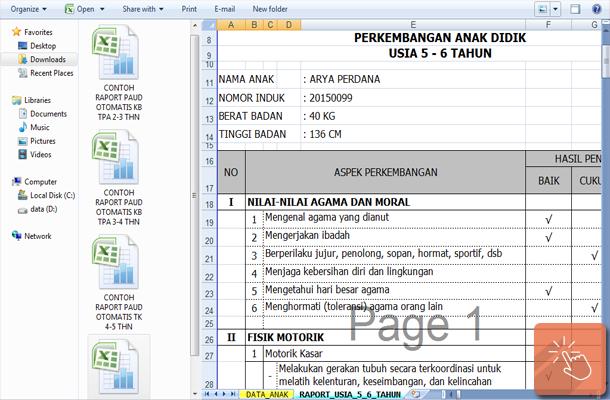 Contoh Raport PAUD TK KB TPA dengan Microsoft Excel