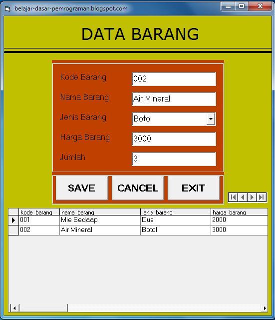 Cara Koneksi database Office Access ke Visual Basic 6.0 (VB)