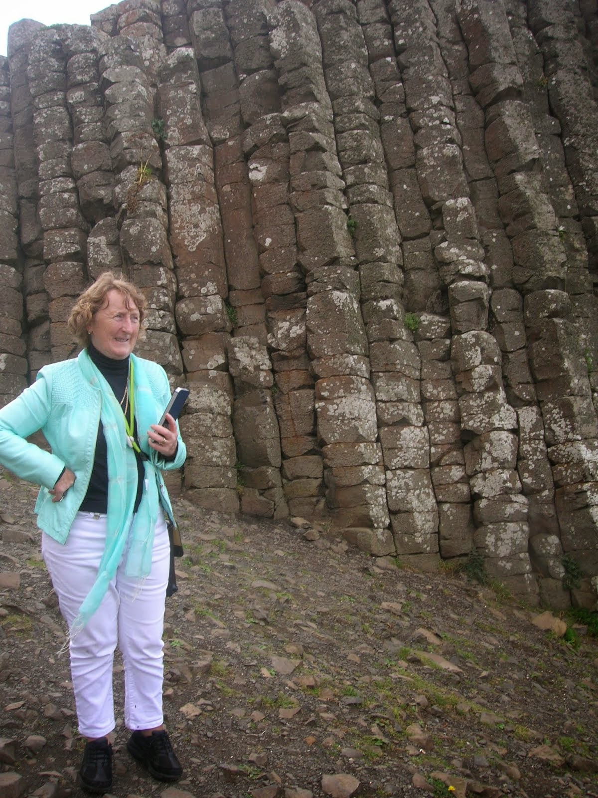 Mary Howley at the giant basalt columns