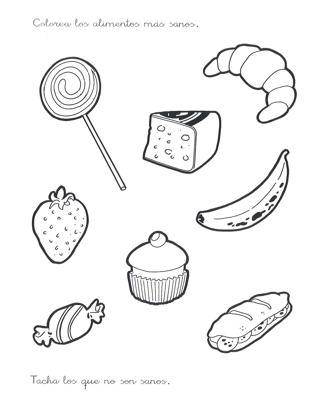 Fichas para colorear de comida chatarra y saludable - Imagui